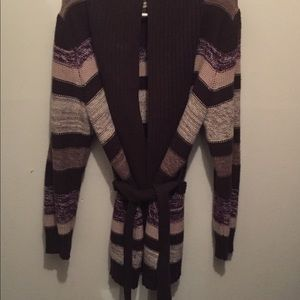 Thick multi color women's cardigan sweater